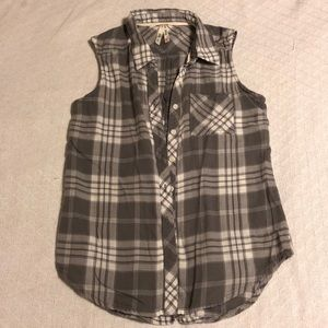 Girl Krazy Plaid Sleeveless Button Down Shirt